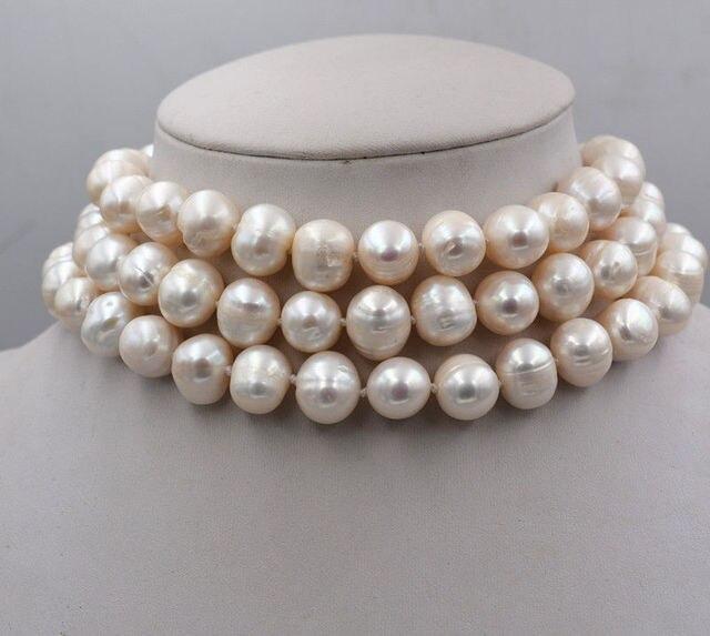 Nuevo 3 filas 9-10 MM genuino blanco AKOYA collar de perlas 17-19 pulgadas