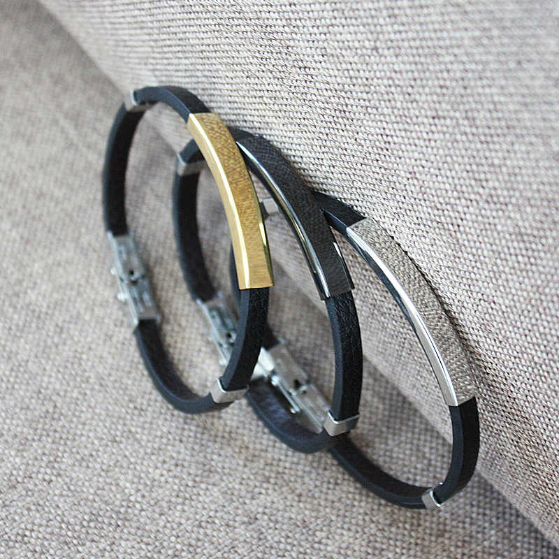 New Classic Style Men Leather Bracelet Simple Black/Silver/Gold Color Stainless Steel Neutral Accessories Fashion Jewelry Gifts