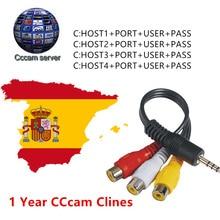 Европейский HD кабель 1 год cccam Clines для цифрового спутникового ТВ приемник wifi FULL HD DVB-S2 поддержка Испания cccam clines сервер