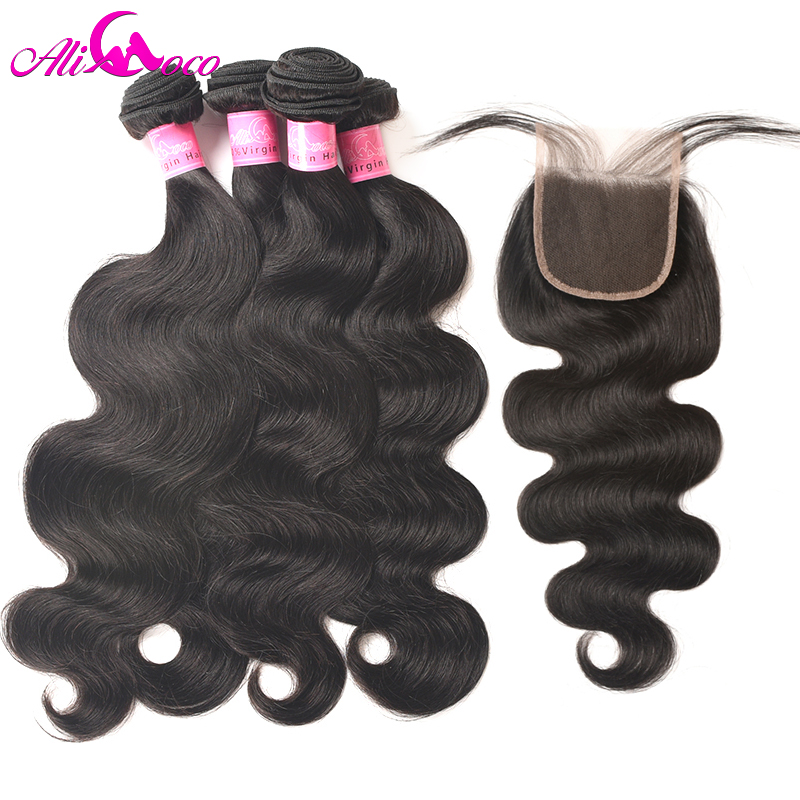 Ali Coco Peruvian Body Wave 4 Bundles With Closure 5 Pieces/lot 100% Human Hair Bundles With Closure Lace Closure Hair Extension
