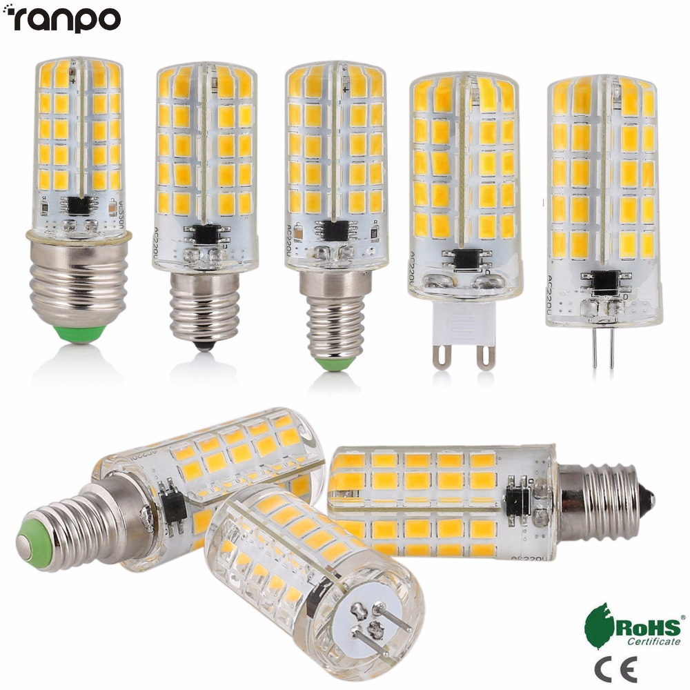 Dimmable Lampada High Lumen Silicone Mini G4 G9 E27 E14 E12 B15 GY6.3 LED Corn Light SMD 5730 Lamp 220V 110V 80LEDs Chandelier стоимость