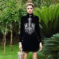 Роскошные Платья Новый 2016 Осень Известный Новый Высший Сорт Женщин Trutleneck Длинным Рукавом Кристалл Света Бисером Черный Элегантное Платье