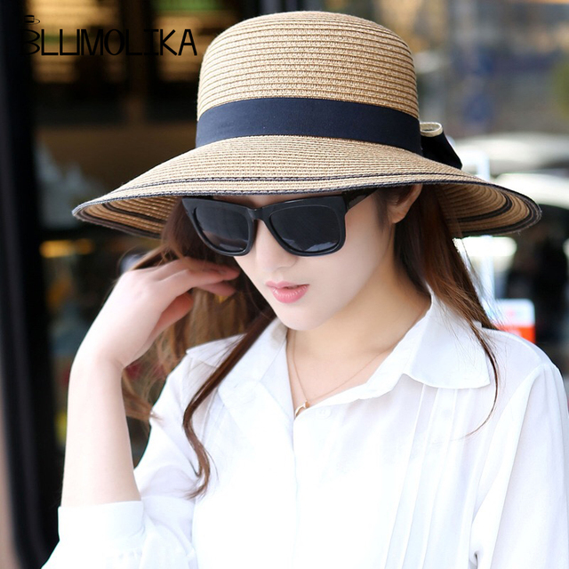 4a2a83b5a US $7.92 30% OFF|2018 new fashion summer straw hat women big wide brim  beach hat sun hat foldable sun block UV protection panama hats wholesale-in  Sun ...