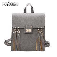 Hoyobish Кожа PU Рюкзак кисточкой Школьные сумки для подростка Обувь для девочек рюкзак Для женщин рюкзак сумка для путешествий Mochilas OH023