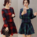 Autumn winter women vintage Plaid woolen suits dress England style  TZ-85-89