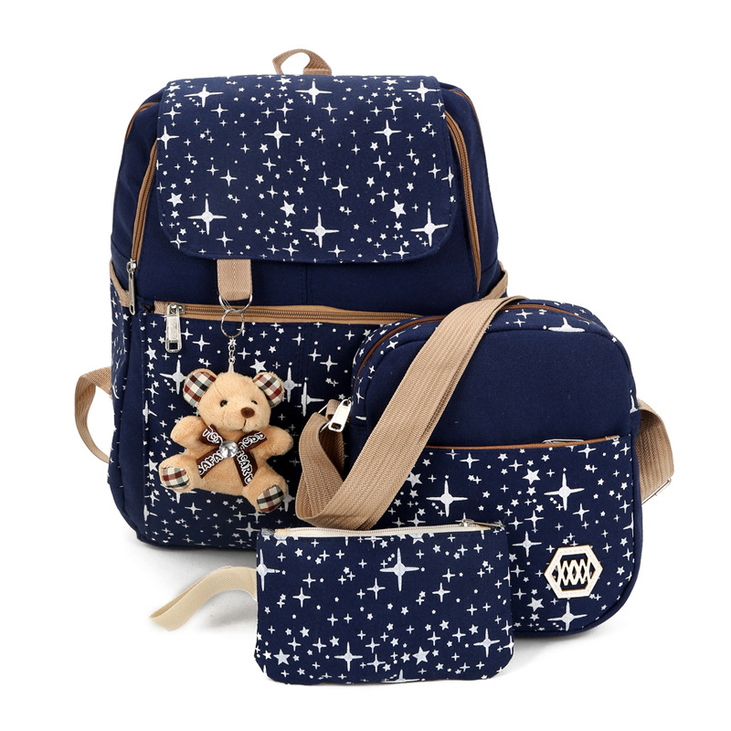 New Women's Bag 3 Piece/sets Female Backpack Fashion Printing Feminina Travel Schoolbag Pack For Teenage Girls Bookbag Satchel