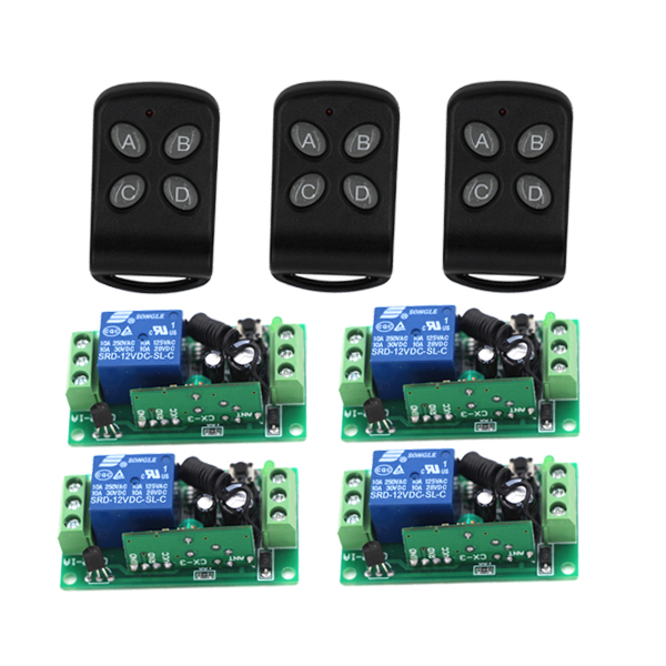 New 12V 1 Channel 3pcs Wireless Remote Controllers 4pcs Control Switch Boards Fixed Code 3425 vgg06 12v 2 ch multi functional wireless remote switch w two remote controllers green black
