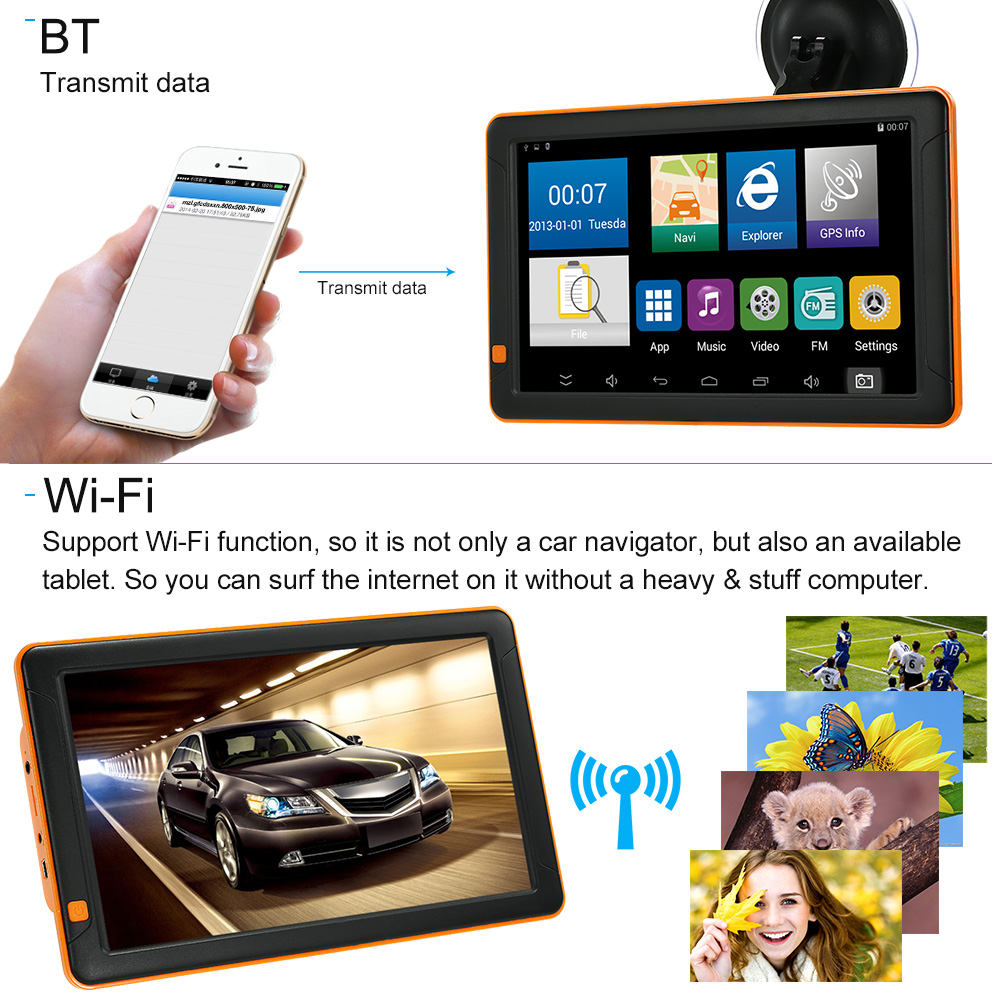 2018 9inch Tablet GPS Navigation Android System 16GB Portable Car Stereo Audio Player 1080P Car DVR Dash Cam Recorder Free Map