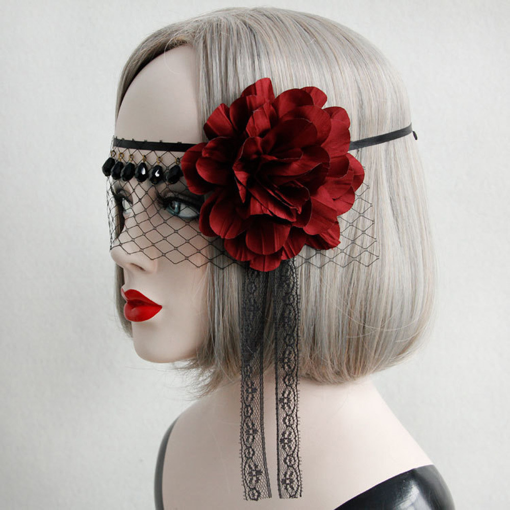FSD3 Red Flower Lace Masquerade Face Eye Mask Hair Headband Party Gothic Cosplay Lady sep05