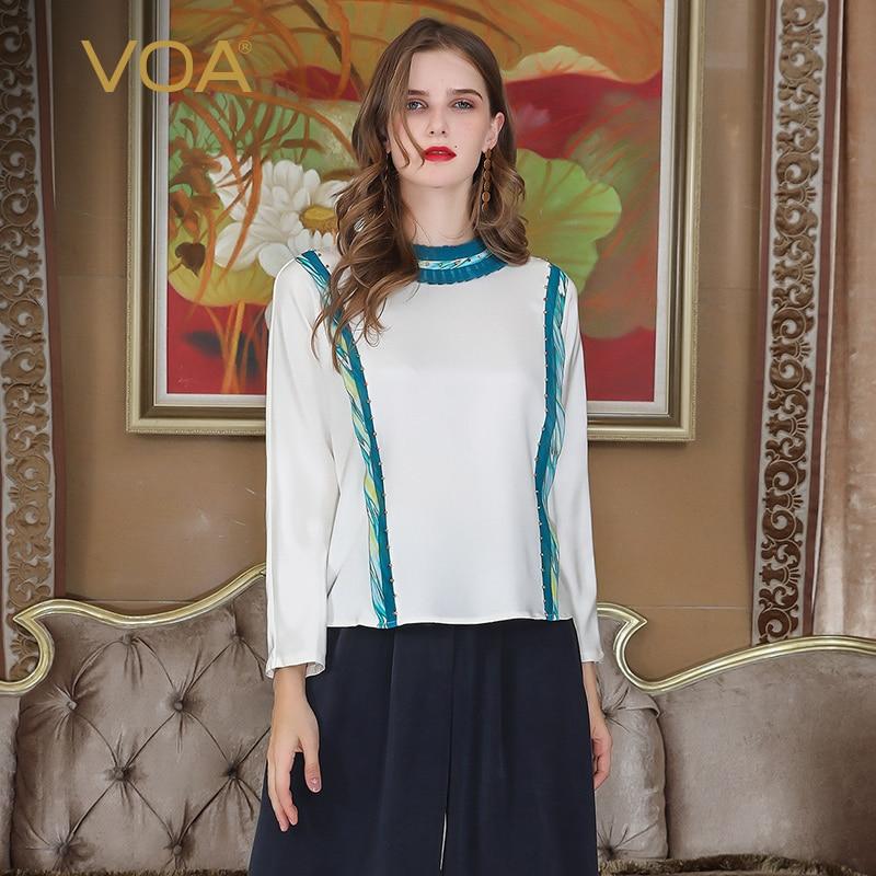 VOA Heavy Silk Plus Size Beading T Shirt Bat Long Sleeve Patchwork Slim Women Tops White Basic Casual Pullover Tee Spring B107