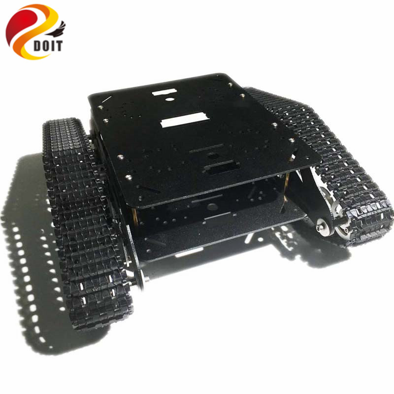 Shock Absorption Metal Tracked Robot Tank Car Chassis TSD300 with Robot Arm Interface Hole for Modification RC Toy DIY