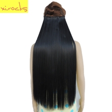 Xi.rocks Straight 5 Clip in Hair Extensions High Temperature Fiber 25 Colors 28inch Hairpiece Extension Synthetic Hair Clips