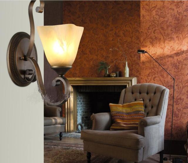 Creatieve wandlamp brons antieke slaapkamer gangpad lichten balkon ...