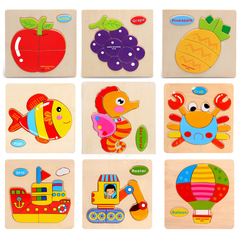 Деревянные мультфильм 3D головоломки игрушка детская умственное развитие Tangram Паззлы Игрушечные лошадки Развивающие Игрушки для маленьких ...