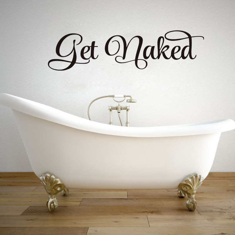 DCTOP Get Naked Bathroom Wall Decal Wall Sticker Vinyl Toliet Living Room Home Decor Dec ...