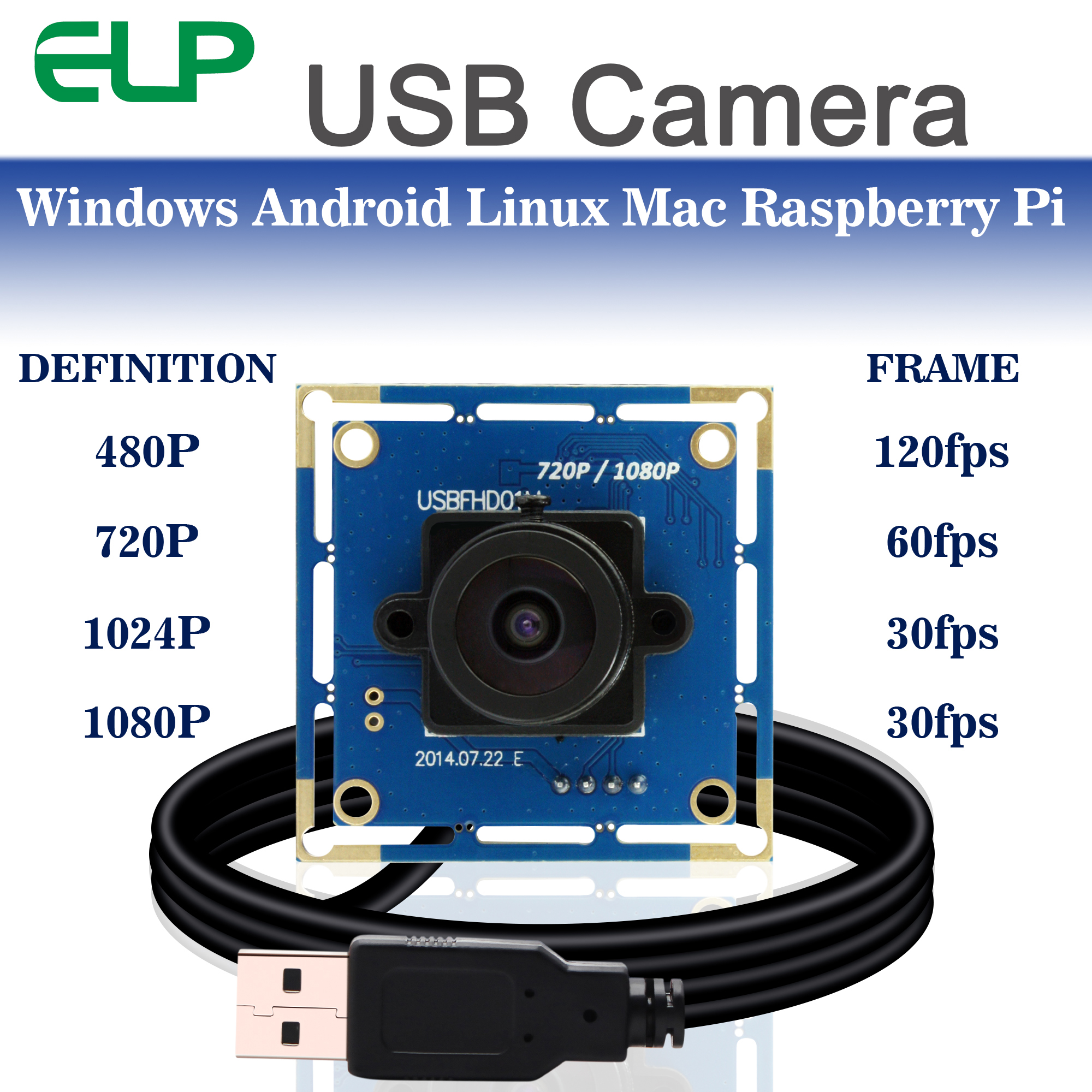 2MP High frame rate MJPEG 60fps//120fps//260fps CMOS Mini box USB Webcam Camera