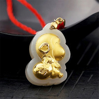 Natural HeTian Yu 100% Pure Solid 18 K Gold inlaid Monkey Lucky Baby Pendant free Necklace + Certificate Fashion Jewelry