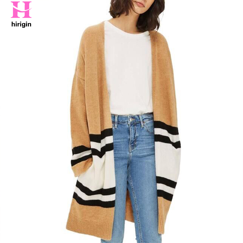 HIRIGIN 2017 Women Spring Fall Loose Sweater Long Sleeve Knitted Cardigan Outwear Womens Knitted Female Cardigan pull femme