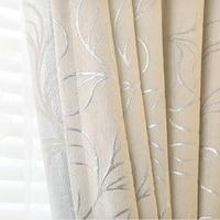 Venta caliente por encargo generoso thicking chenille Telas plata floral jacquard apagón cortina para ventana de dormitorio