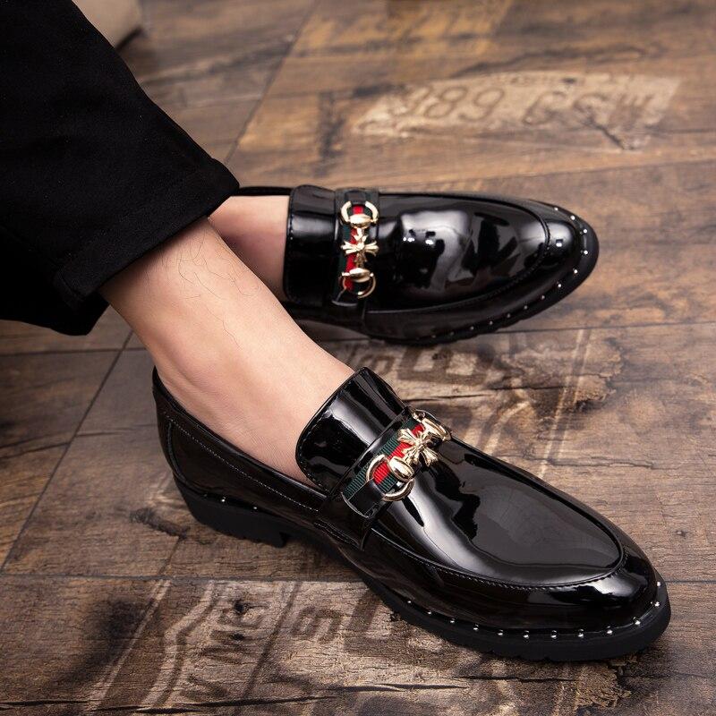 Flats Tamanho Vestem Casuais De Homens 44 Apontado Respirável matte Nova Lace Black Dedo Sapatos Moda Up Couro Patent Chegada Se Black Brogue 38 wgaxCZFq