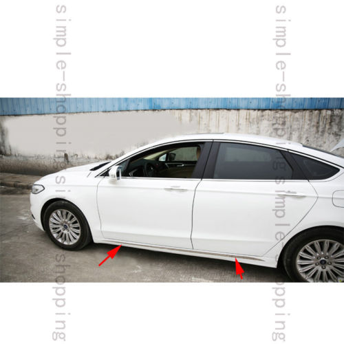2X Steel Body Below Door Side Molding trim Cover For Ford Fusion Mondeo 13-15 stainless steel side body side door molding cover trim for 2014 mazda 6 atenza