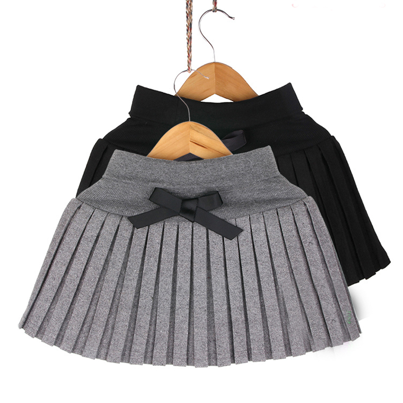 New 2017 Toddler girls Spring/Autumn/winter clothing girl's bust skirt thin woolen pleated skirt black/gray 3T~12 wholesale
