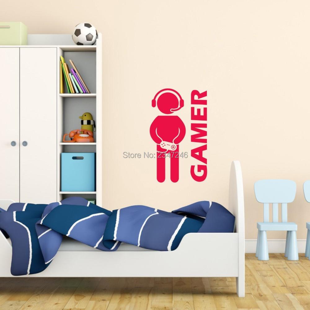 Video Game Wall Decal Robot Gamer Joysticker Art Mural For Boys