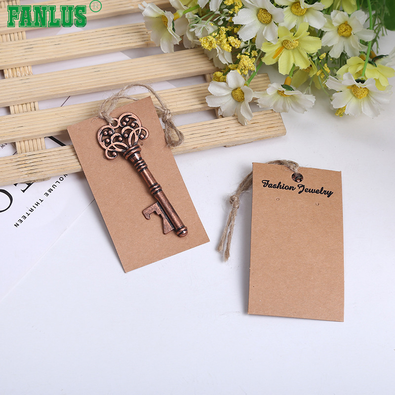 FANLUS Wedding Favors for Guests Party Favors Rustic Vintage Key Bottle Opener with Escort Card Tag and Twine