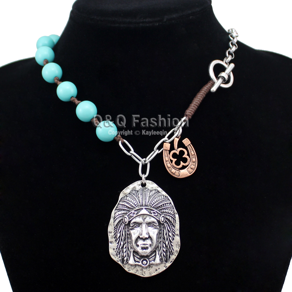 New Vintage Silver Native 3D Indian Chief Horse Shoe Turquoise Toggle Zuni Chain Necklace Top