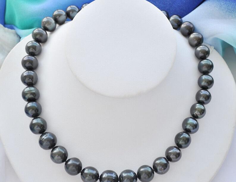 Femmes cadeau mot amour 11-11.5mm rond noir perle d'eau douce collier nature frais perle double chaîne 925 argent collier fin