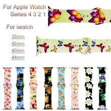 Printed Sport Silicone Watch Band For Apple Watch 4 3 2 1 Bracelet Strap For iwatch 44mm 40mm 38mm 42mm Watchband Accessories sport silicone watch band for apple watch 4 3 2 1 loop bracelet strap for iwatch 44mm 40mm 38mm 42mm soft watchband accessories