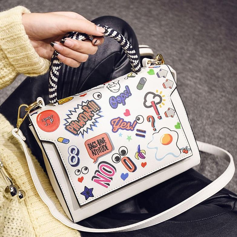 Women Bags 2017 PU Leather Designer Handbags High Quality Vintage Clutch Shoulder Bags Female Cartoon Printing Bolsa Feminina