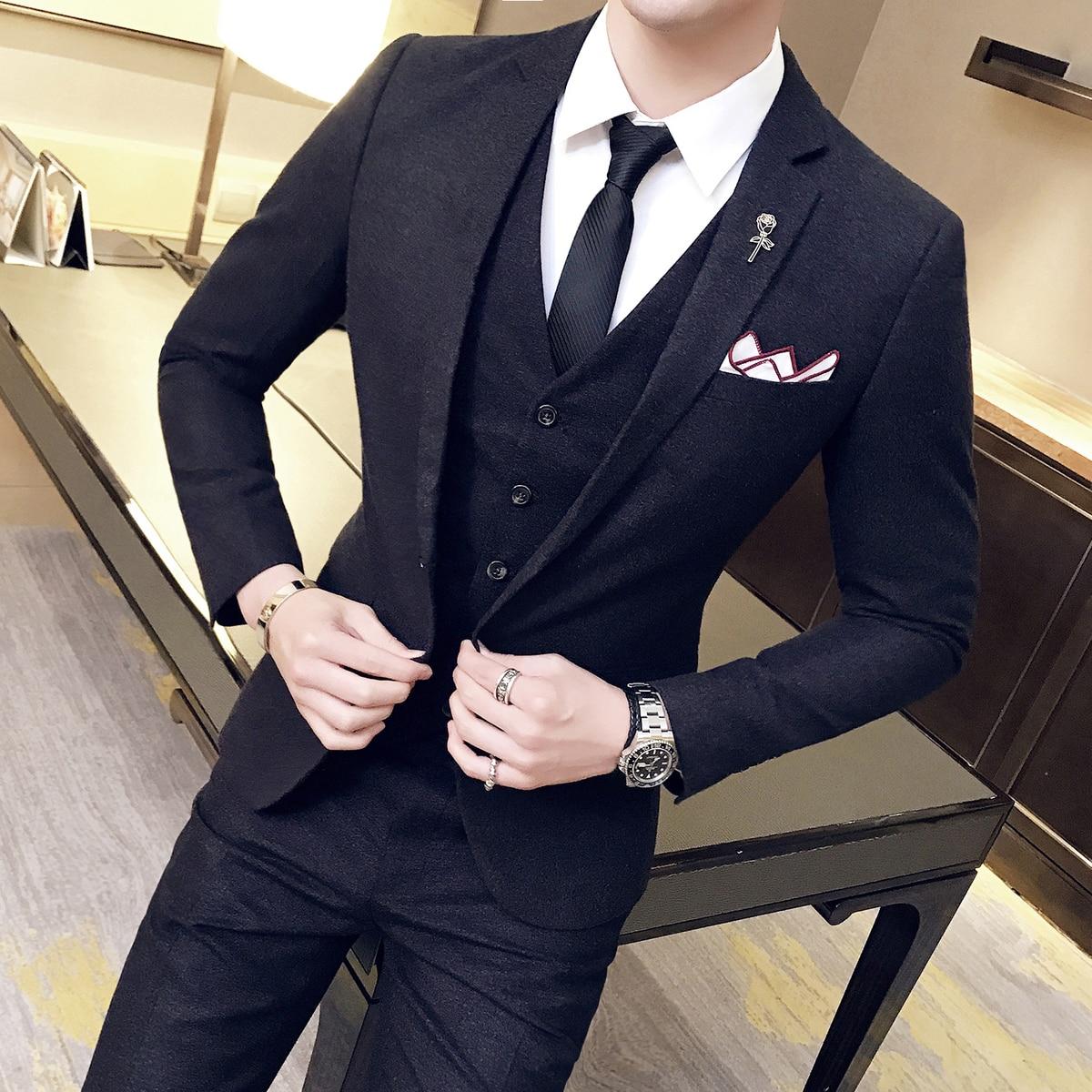 Designers Wool Suits 3 Piece Suit Men  Black Slim Vingtage Suit Wedding Dress Business Acostume Homme Vestito Uomo Smoking