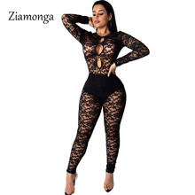 bb86a00aa2 Ziamonga 2019 See Through Fashion Ladies Sexy Bodycon Costume Lace Sleeve  O-Neck Women Jumpsuits