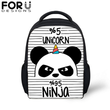 Forudesigns Panda Unicorn Small School Bag For Baby Boy Girls Cartoon 12 inch Black Soft Backpack 4-11 Year Children Kid Bookbag