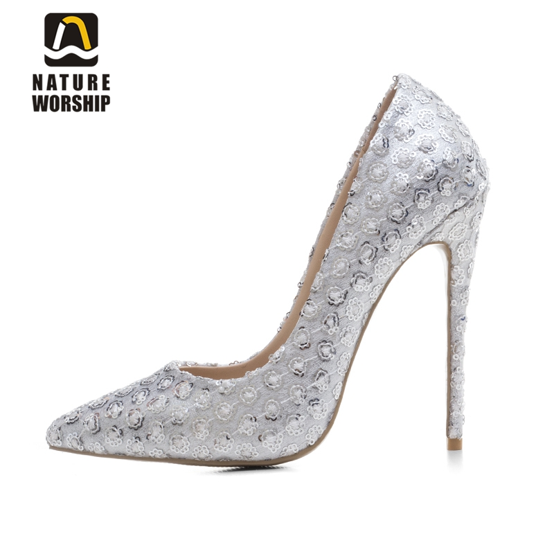 Big size 34-43 women shoes pointed toe high heels women pumps slip on handmade lace white wedding shoes embroider bling shoes white lace embroider women shoes slip on high heels glaze surface metal thin heel pumps female wedding dress shoes pointed toe