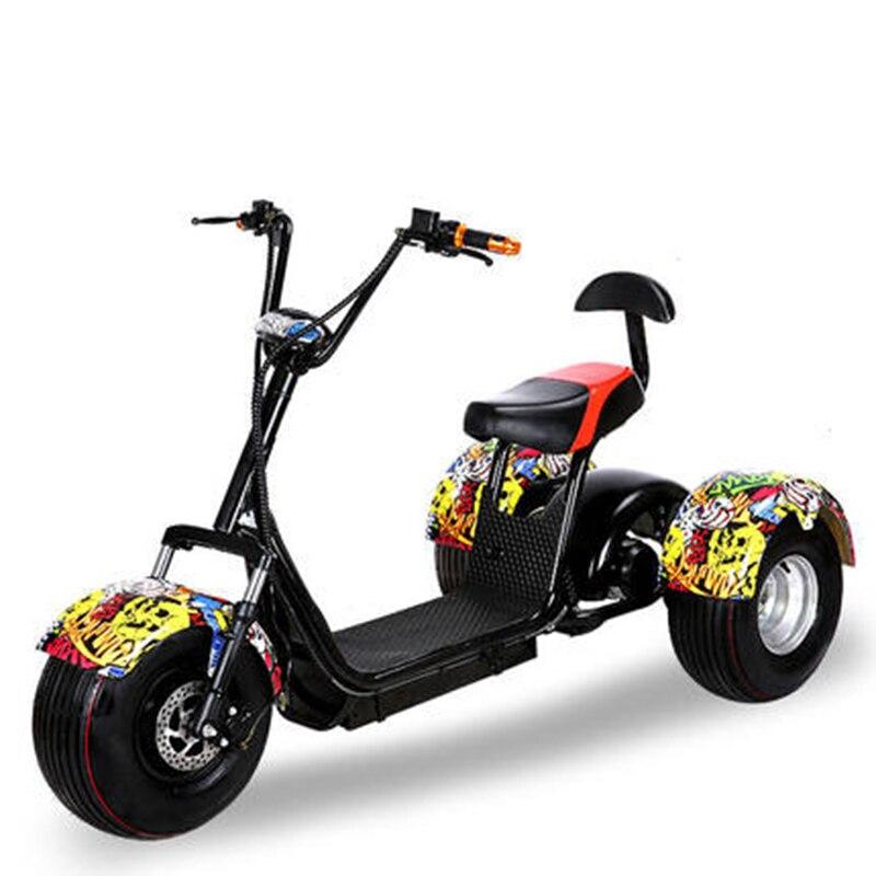 Citycoco Trike 60 V 500 W arbre d'entraînement trois roues Scooter électrique Tricycle moto pour hommes femmes Scooter électrique