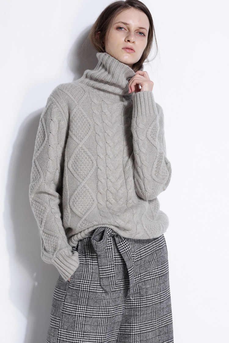 겨울 스웨터 여성 높은 칼라 솔리드 캐시미어 스웨터 여성 두꺼운 스웨터 2018 새로운 트위스트 패턴 bottoming 따뜻한 풀 오버