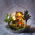 И . ю . кукольный дом мини стеклянный шар модель строительство комплекты ручной работы из дерева миниатюрные кукольный домик игрушка рождественский подарок - норвегия дерево дом