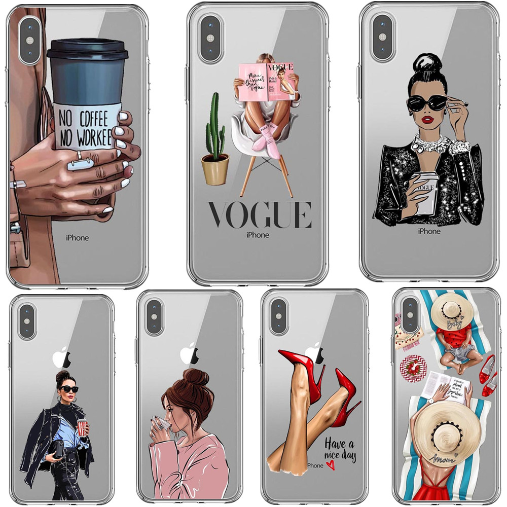 VOGUE Queen Princess Girl Female boss coffee Soft Silicone phone <font><b>Case</b></font> For <font><b>iPhone</b></font> 11 Pro Max 5S SE 6 6s 7 8 Plus X XS <font><b>XR</b></font> XS MAX image