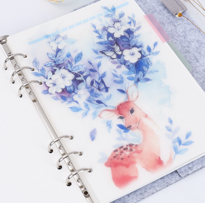 5Pcs/set A5 A6 Cute Deer Colored Delicate Scrub Planner Index Page Beautiful Retro Planner Inner Slip Sheet Binder Category