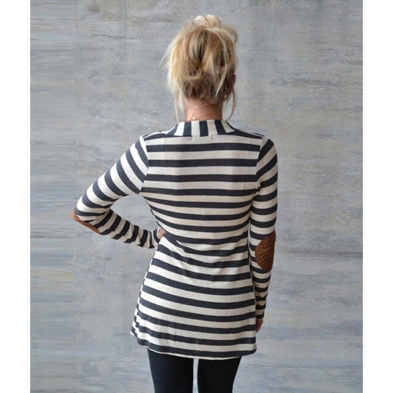 2017 Mode Ytterkläder Kvinnor Långärmad Stripped Casual Strip - Damkläder - Foto 2