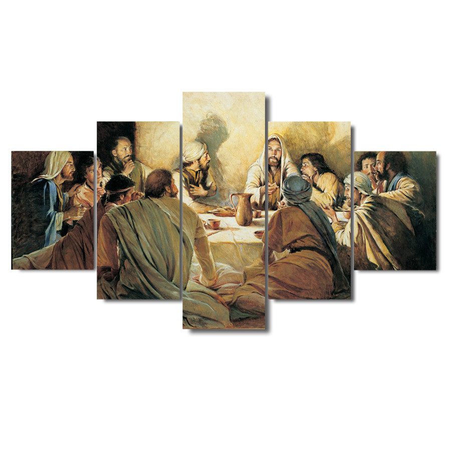 5 Pieces Modern HD Canvas Painting Last Supper Painting Decos