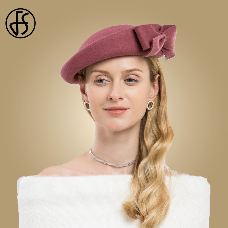 9a3fdfe741728 FS mujer tocados sombrero elegante invierno rosa negro rojo lana de fieltro  boda sombreros chica arco Iglesia vestido sombreros de fieltro en Sombreros  de ...