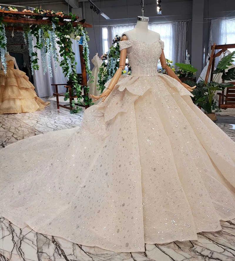 HTL512 księżniczka suknia dla panny młodej z pociągu wielowarstwowa spódnica off na ramię suknia ślubna w stylu vintage 2019 vestido de noiva princesa