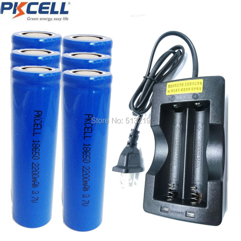 6 x 18650 ICR18650 2200 MAH 3.7V Li-ion Rechargeable Battery Flat Heaher with 18650 2slot Double Slot EU/US Plug Charger wsx mx x6a b05 6 port charger 6 3 7v 750ma 25c li battery for jxd 509g 509v jjrc h12c dfd f181 mjx x400 h12w h12w a 3a us plug with eu adapter