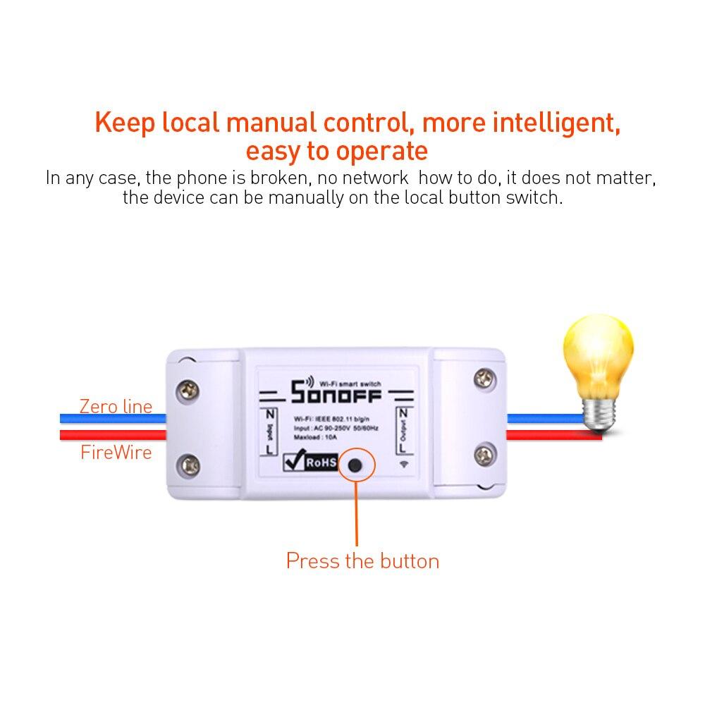 2/3/5/6/8/10/15/20 PCS SONOFF Basic Wifi Switch DIY 10A Wireless Remote Switch Light 220v Wifi Timer Smart Home Google Alexa