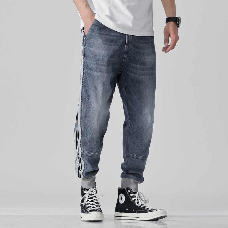 2019 Yüksek Sokak Moda Erkek Jogger Kot Mavi Renk En Kaliteli Gevşek Fit Kargo Pantolon Harem Pantolon Hip Hop Kot Pantolon erkekler