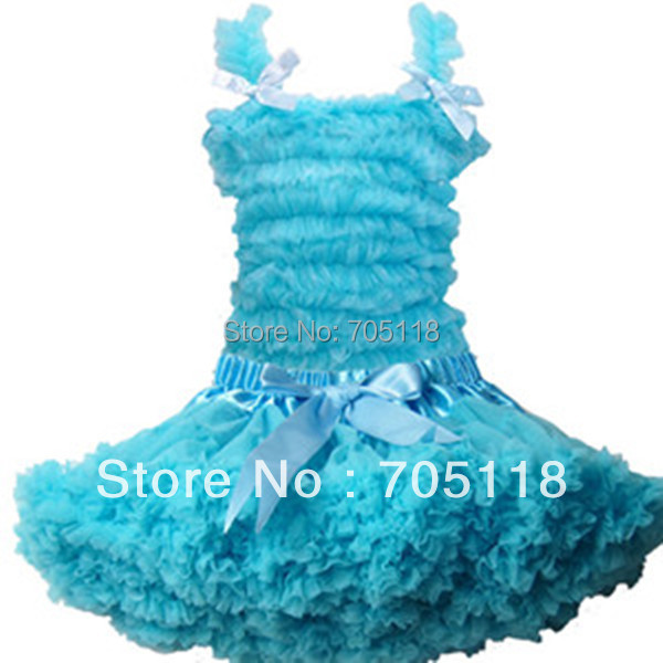 2013Children pettiskirt set,pure color chiffon tank top & skirt Girls pettiskirt tutu set 11 colors party dress Free shipping