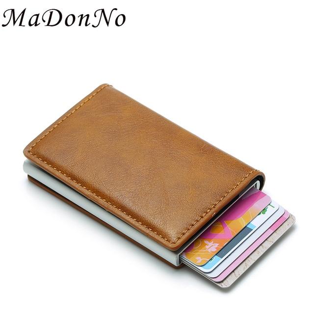 MaDonNo contra hombres de cartera bolsa de dinero Mini bolso de hombre de aluminio Rfid tarjeta titular de la cartera pequeña y fina Cartera Smart cartera wallet